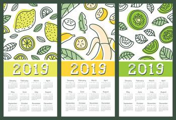 Calendar 2019 set. Vector fruit and citrus. Lemon, banana, kiwi. Tropic calender. Doodle design template. Week starts on Sunday. English
