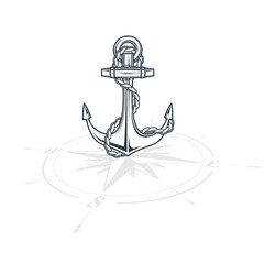 Anchor on the wind rose travelling vector illustration
