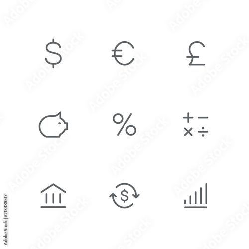Basic outline icon set - dollar, euro, pound, coin box