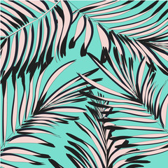 Vector summer exotic floral tropical palm leaf, banana in blue n