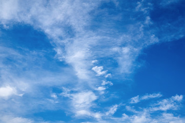 Beautiful blue sky with clouds fleece. Abstract background.