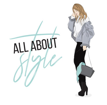 Vector fashion illustration. Casual look outfit. Woman in denim jacket, hooodie, pants and shoues going out. Magazine illustration.  Blogger fashionable design
