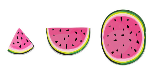 Isolated watermelon slices. Fresh fruits cut in half pink melon in a row isolated on white background with clipping path. Isolated watermelons. Collection of whole and cut watermelon fruits