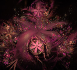 Glow Abstract Fractal Flower Background. Translucent bubbles texture with glow Flowers. Bright, multicolored computer generated, fractal abstract background