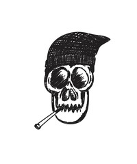 and drawn skull smoking, hip-hop, rap, t shirt, art