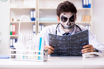 Scary monster doctor working in lab