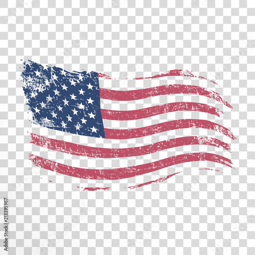 American flag in grunge style on transparent background
