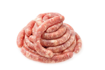Delicious raw sausages for barbecue. Isolated on a white background.