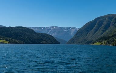 Landscape Hardanger Fjord from the boat. National park Hardangervidda, Norway, Europe.