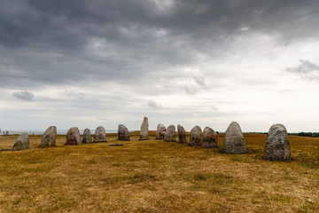 Swedish Ales stenar. Ale's Stones a megalithic monument in Scania in southern Sweden