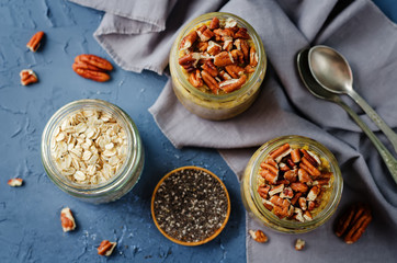 Pumpkin Chia seeds overnight oats with pecans