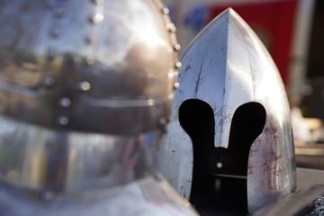 Old medieval steel helmet