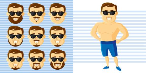 Summer Style Man Face Set Cartoon character