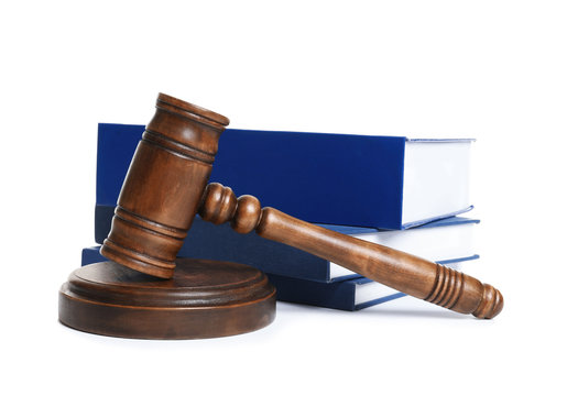 Wooden gavel and books on white background. Law concept