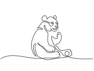 Continuous one line drawing. Panda bear symbol. Logo of the panda. Vector illustration