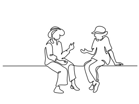 Continuous one line drawing. Two sitting old women talking. Vector illustration