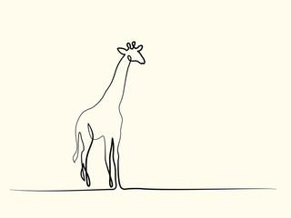 Continuous one line drawing. Giraffe walking symbol. Logo of the giraffe. Vector illustration