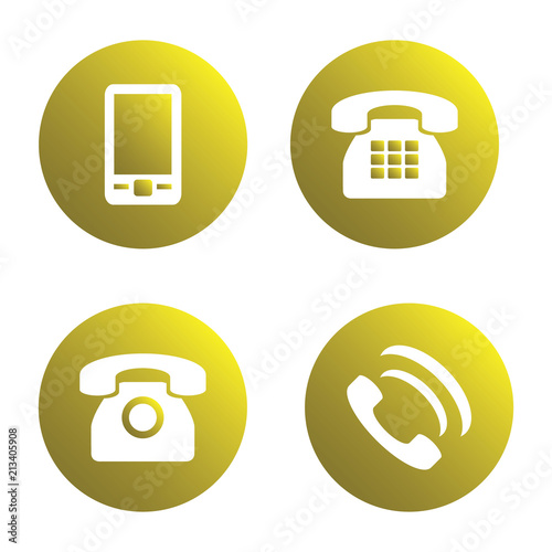 Vector icon set: yellow phone icons - mobile phone, handset