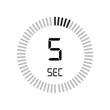The 5 seconds icon, digital timer. clock and watch, timer, countdown symbol isolated on white background, stopwatch vector icon