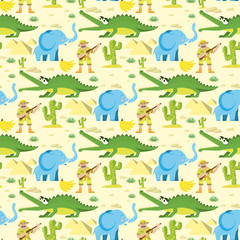 Seamless animal pattern wildlife reptile background with circus elephant crocodile characters vector illustration