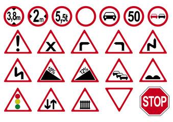 Sammlung von deutschen Verkehrszeichen. Vektor Datei eps 10