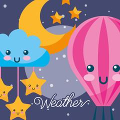 weather night kawaii hot air balloon cloud stars moon