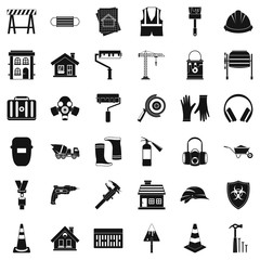 Construction industry icons set. Simple style of 36 construction industry vector icons for web isolated on white background