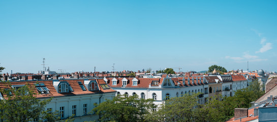 Panoramic view over Berlin City skyline - rooftops