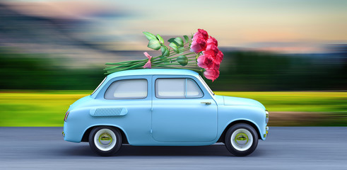 car carrying bouquet of flowers 3d render 3d illustration