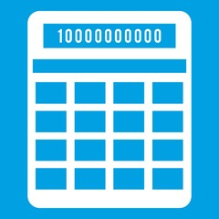 Calculator icon white isolated on blue background vector illustration