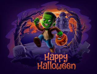 happy halloween with frankenstein cartoon