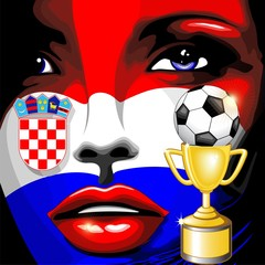 Croatia Flag Girl Portrait Champions World Cup