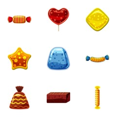 Different candy icons set. Cartoon set of 9 different candy vector icons for web isolated on white background