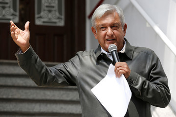 Mexico's president-elect Lopez Obrador holds a news conference in Mexico City