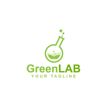 green lab logo design, green leaf symbol in natural research laboratory bottle
