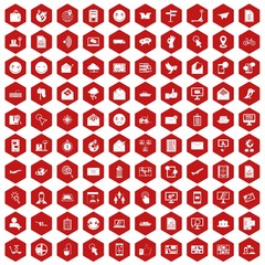 100 mail icons set in red hexagon isolated vector illustration