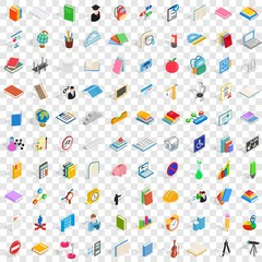 100 college icons set in isometric 3d style for any design vector illustration