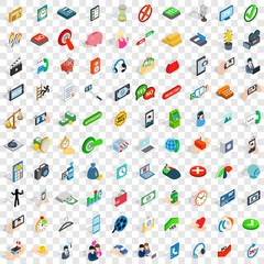 100 communication icons set in isometric 3d style for any design vector illustration