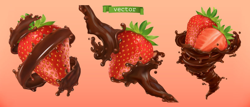 Strawberry and chocolate splashes. 3d realistic vector