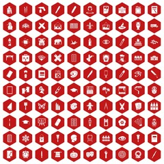 100 paint school icons set in red hexagon isolated vector illustration