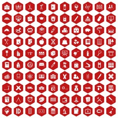 100 pensil icons set in red hexagon isolated vector illustration