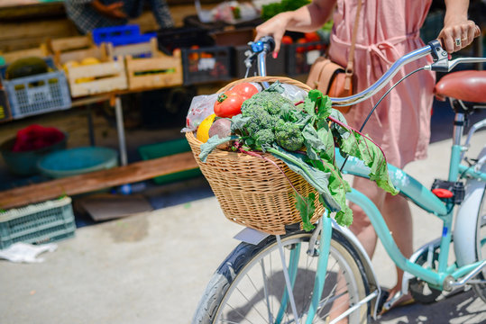 People buying fruits and vegetables ingredient. Summer outdoors farm market shopping background. Casual purchasing selling real natural healthy lifestyle candid closeup image