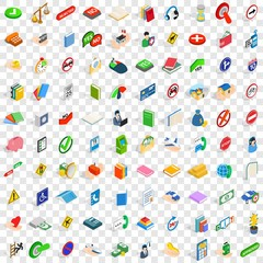 100 helpful icons set in isometric 3d style for any design vector illustration