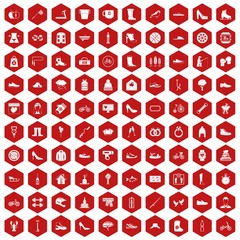 100 shoe icons set in red hexagon isolated vector illustration