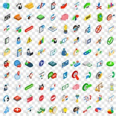 100 management icons set in isometric 3d style for any design vector illustration