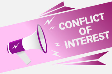 Writing note showing Conflict Of Interest. Business photo showcasing disagreeing with someone about goals or targets Loud speaker convey message ideas multiple text lines logo type design.
