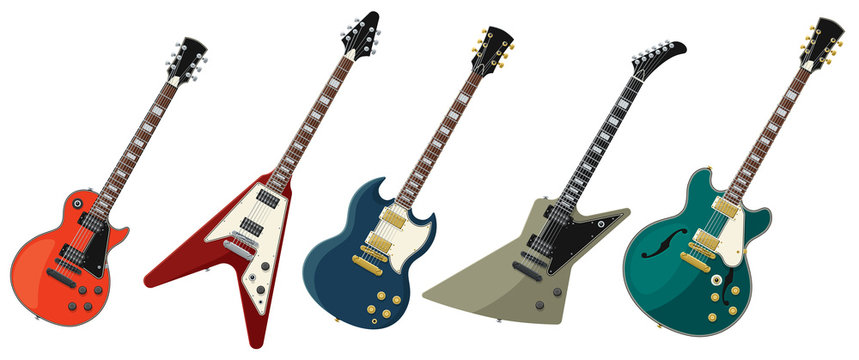 Five Electric Guitars Isolated on White Background