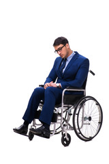 Businessman with wheelchair isolated on white background