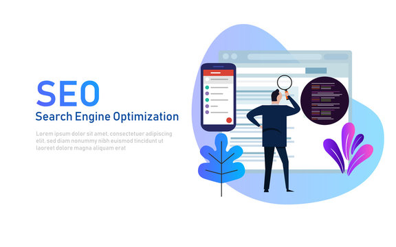 Modern flat design concept of SEO Search Engine Optimization for website and mobile website. Landing page template. Edit analyze code.