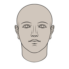 Hand drawn human head in face. Colorable flat vector isolated on white background.